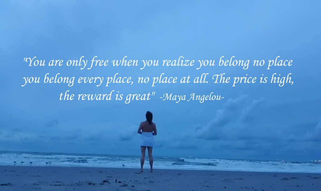 """You are only free when you realize you belong no place, you belong every place, no place at all. The price is high, the reward is great"" -Maya Angelou-"